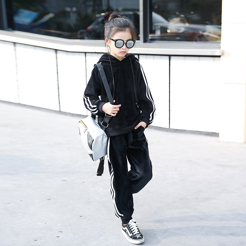 Spring Boys and Girl Cardigan+ Pant 2PCS Kids Sweatshirt+ Trousers suit Child Set Thickening double-sided velvet Tracksuit sutton studio womens 2 pcs quilted pant suit