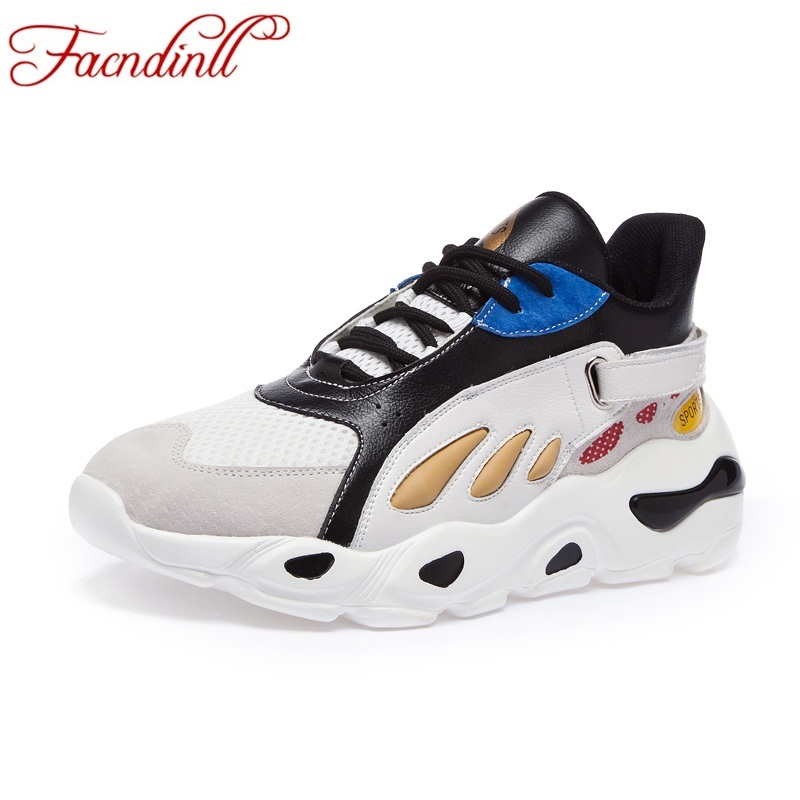 Facndinll High Top Women Sneakers Flats Knitsuede Leather Breathable Black White -3740