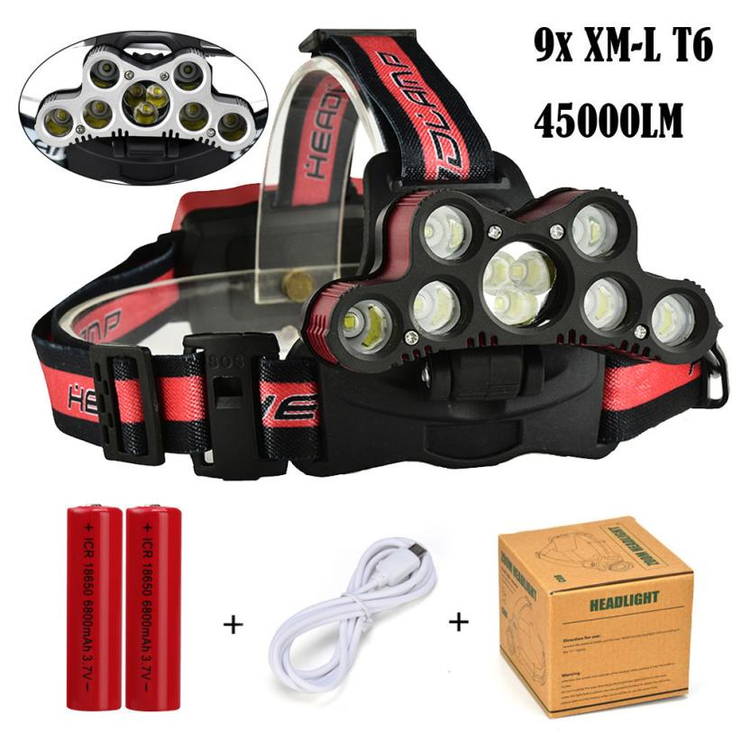 45000 LM 9X XM-L T6 LED Rechargeable Headlamp Headlight Travel Head Torch 6 modes 2x 18650 3.7v for Bicycle Cycling Riding P5 950lm 3 mode white bicycle headlamp w cree xm l t6 black silver 2 x 18650