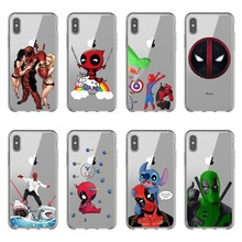 Super Cool Funny cute Marvel Deadpool soft silicone TPU Case for iphone X10 XR XS MAX 5 5S SE 6 6S Plus 7 8 Plus Phone Cover 2017 newest k6 business bluetooth earphone headphones stereo wireless handsfree car driver bluetooth headset with storage box