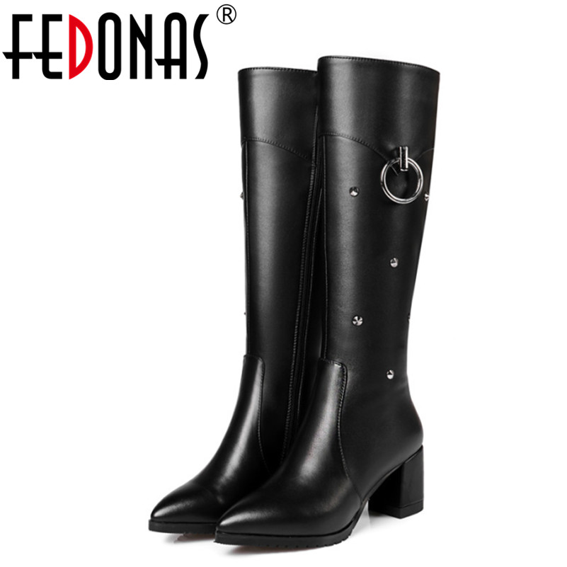 FEDONAS High Quality Buckle Sexy High Heels Winter Warm Snow Boots Genuine Leather Fashion Women Knee High Boots Shoes Woman winter warm snow boots cotton shoes flat heels knee high boots women boots wholesale high quality