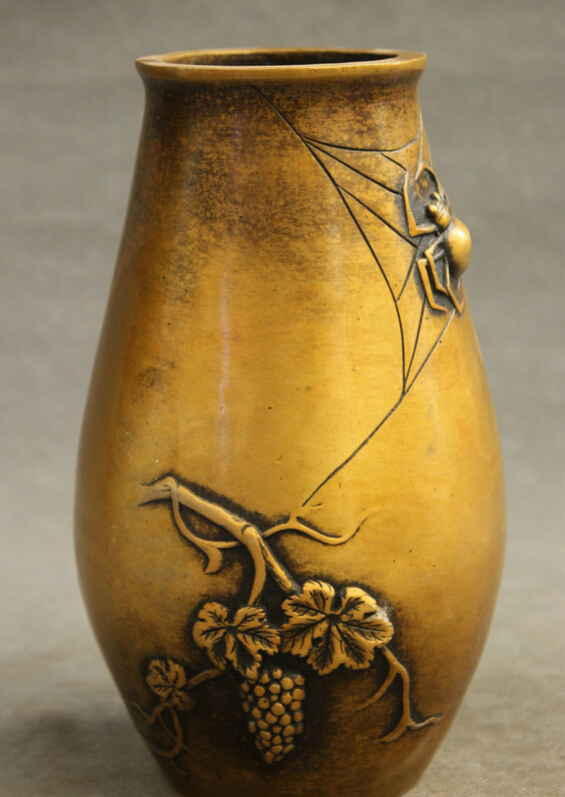 """USPS to USA S1259 8"""" Chinese Bronze Palace Wealth Grape Animals Spider Statue Sculpture Vase Pot B0401
