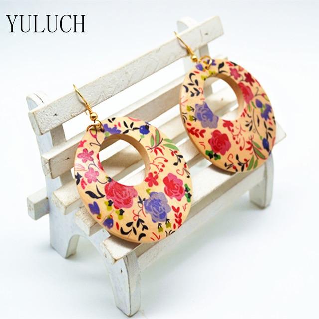 1 пара серьги с цветочным принтом