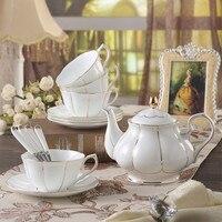 9 Pieces SET Painted Gold Bone Porcelain Coffee Cup Set Afternoon Tea Sets Black Tea Cups