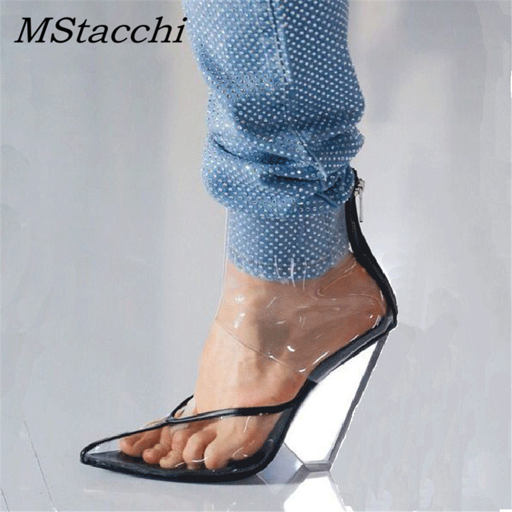 MStacchi PVC Transparent High Wedges Women Sandals Pointed Toe Cut Outs Sexy Shoes Woman Camel Back Zipper Summer Sandals