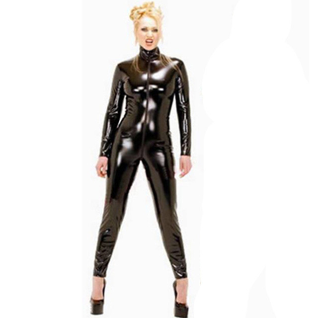 21f1dcfd91c Plus Size Women Sexy PVC Latex Catsuit Black Faux Leather Bodysuit Crotch  Zipper Jumpsuit Club Wear Costumes