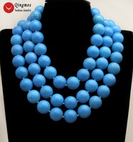 Qingmos 3 Strands Natural Turquoises Necklace for Women with Blue 20mm Round Turquoises Necklace Jewelry Chokers 18 23 nec6503