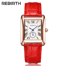 Rectangle Luxury Brand Women's Fashion Watches REBIRTH Elegant Retro Leather Quartz-watch with Blue pointer Woman Dress Clock
