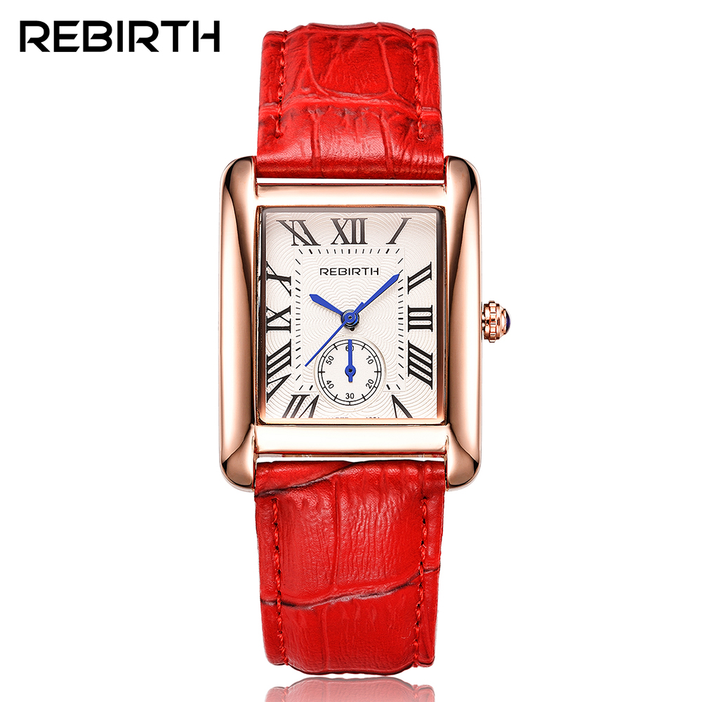 Rectangle Luxury Brand Women's Fashion Watches REBIRTH Elegant Retro Leather Quartz-watch with Blue pointer Woman Dress Clock elegant design bling diamond sands dial women watches fashion female dress watch rebirth luxury brand leather quartz clock gifts