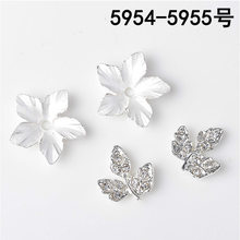 50pcs 15mm 20mm Silver Color Alloy Material Crystal Leaf Charm Flower pendant For Head DIY Wedding Handmade Jewelry Making(China)