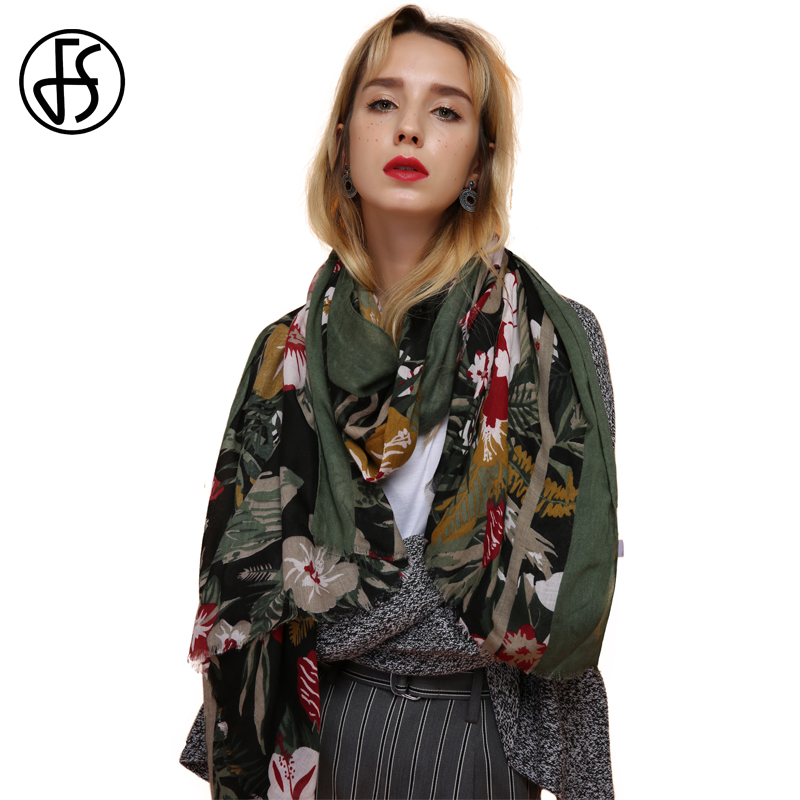 FS Cotton Linen Scarf Women Bandana Echarpe Femme Floral Print Long Scarves Stoles Large Shawls Pashmina For Ladies Wraps 2018