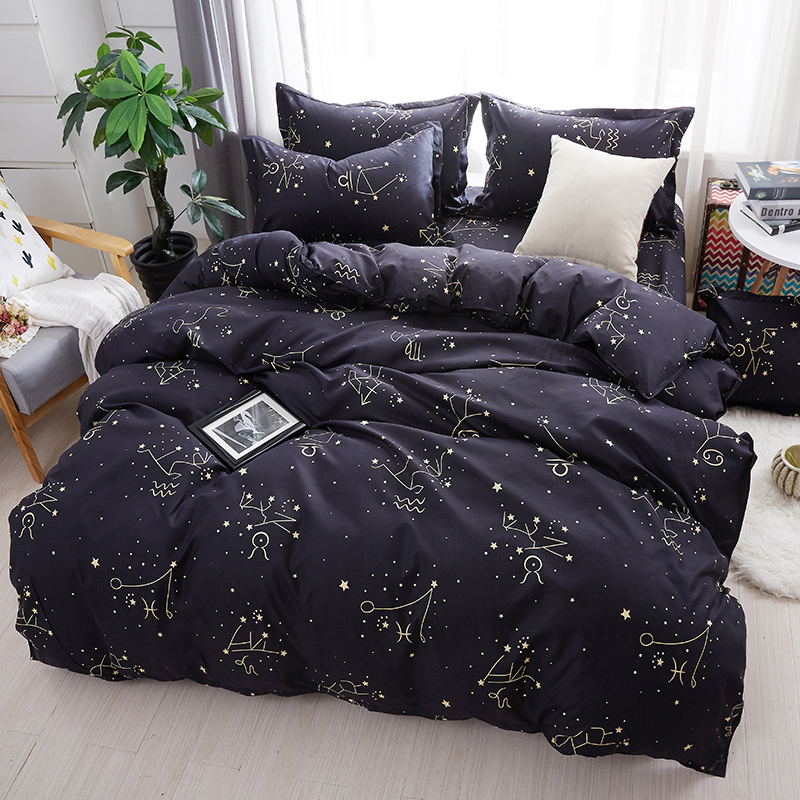 Luxury Soft bedding set black stars duvet cover sets bed linen bedclothes double twin full quenn king size bed sheet bedclothes