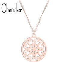 Chandler Mandala Necklace Stainless Steel Flower Of Life Necklaces Female Om Yoga Chakra Pendant Sacred Geometry Women Jewelry(China)