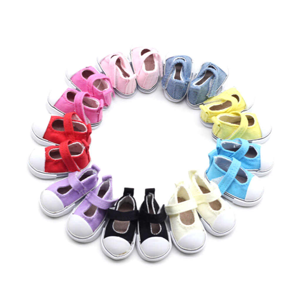 1Pair 5cm*2.6cm Canvas Shoes For Doll Girl Gift For Baby Gift Doll Accessories Birthday Gift