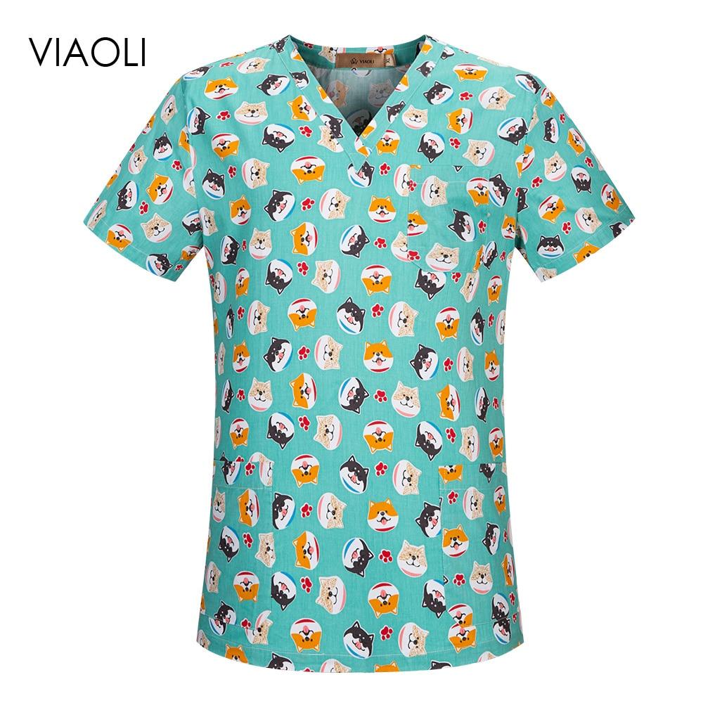 Dental Clinic Scrubs Tops Pet Doctor Nurse Uniforms Hospital Nursing Scrubs Clothes Beauty Salon Cartoon Printing Workwear Tops