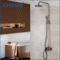 KEMAIDI Antique Brass Bathroom Rainfall Shower Head System Polished Chrome Bath & Shower Faucet Mixer Shower Set W/ Hand Spray