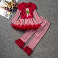 Christmas Costume Baby Girl Clothes Set Striped Long Sleeve Dresses+Stripes Pants Kids Girls Clothing Xmas Stick Bow 2016 Sale