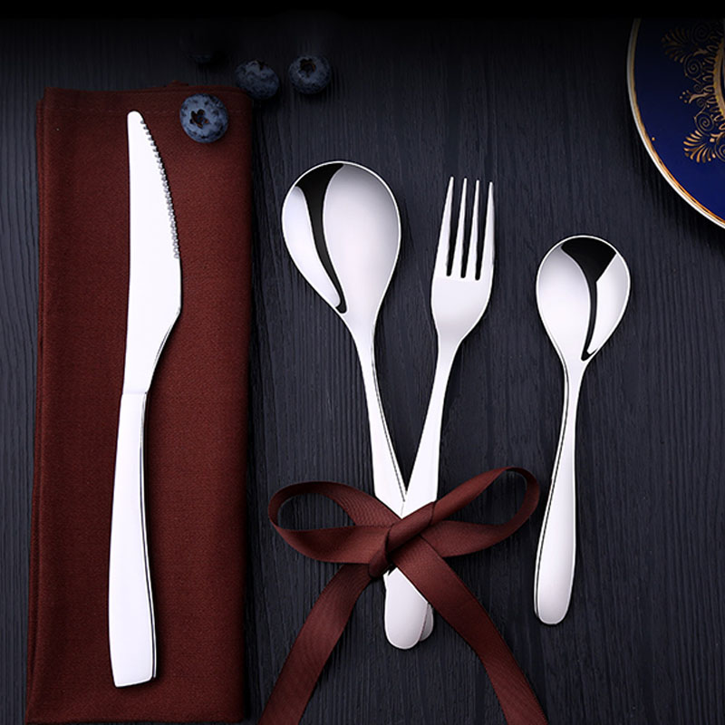 Couverts en acier inoxydable ensemble d'argenterie avec boîte-cadeau de luxe, ensemble de couverts comprennent des fourchettes à Dessert-couteau-fourchette à dîner et cuillère - 4