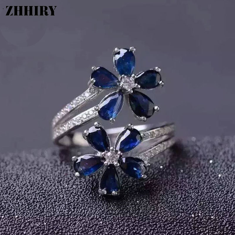 ZHHIRY Women Natural Sapphire Stone Ring Genuine Solid 925 Silver Gem Jewelry Rings Flower Shape Fine JewelryZHHIRY Women Natural Sapphire Stone Ring Genuine Solid 925 Silver Gem Jewelry Rings Flower Shape Fine Jewelry