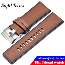 Pulseira de couro liso marrom do vintage para a pulseira diesel dz7374 24mm 26mm 28mm relógio de pulso pulseiras retro cintos pino fivela