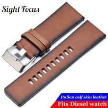 Vintage Bruin Vlakte Lederen Horlogeband voor Diesel DZ7374 Strap 24mm 26mm 28mm Horloge Armbanden Retro Riemen Pin horloge Gesp