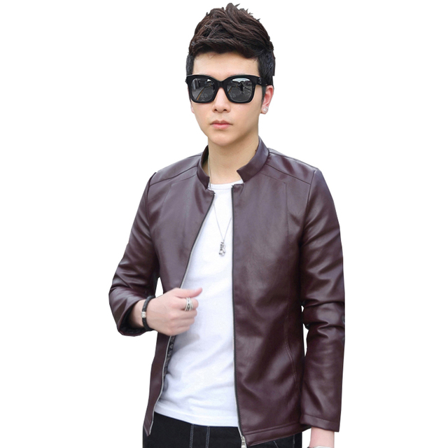 New Brand Men's PU Leather Jacket Red Leather Jackets Zipper Blue PU Leather Jackets Men Chupas De Cuero Hombre Plus Size 4XL