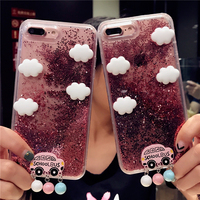 KISSCASE For IPhone 7 6 6S Plus Case Lovely Could Glitter Quicksand Soft TPU Phone Back
