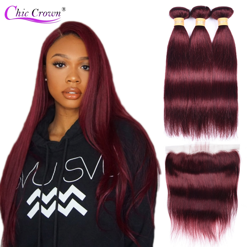 99J Bundles With Frontal Pre Colored Red Bundles Brazilian Human Hair Bungundy Bundles With Frontal Cheveux