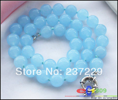 "Wholesale price FREE SHIPPING ADREAL 17"" 10MM azury round green jade BEAD  NECKLACE"