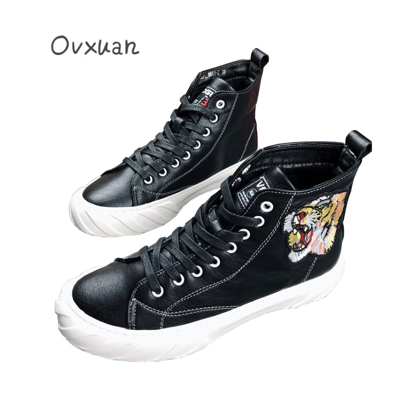 Visage 2019 Fond Noir Tigre Épais Sneakers Pour Chaussures hop Platfrom Loisirs blanc Hommes Mode De Hip Web Décontractées Brodé Celebrity Haute TlJcK13F