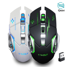 Wireless Mouse Silent Gaming 2.4Ghz 2400 DPI Rechargeable Computer Mause USB PC Mice Mute for Laptop