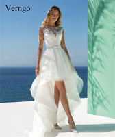 Verngo Short wedding dress Simple Ivory Bridal Dresses 2019 High Low Beach Wedding Gown Backless Vestidos De Noiva