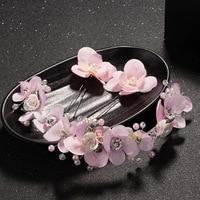 Pretty Pink Dried Flower Hair Pins Set Bridal Headband Handmade Wedding Tiara Accessories Hair Jewelry Women