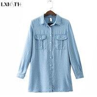 LXMSTH 2017 Spring Autumn Long Denim Shirt Women With Pocket Long Sleeve Cotton Loose Denim Blouse