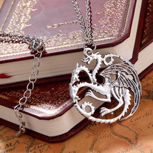 Classic Vintage Ice And Fire Game Of Thrones Daenerys Targaryen Dragon Necklace Badge Link Chain Necklace T1548 P0.50