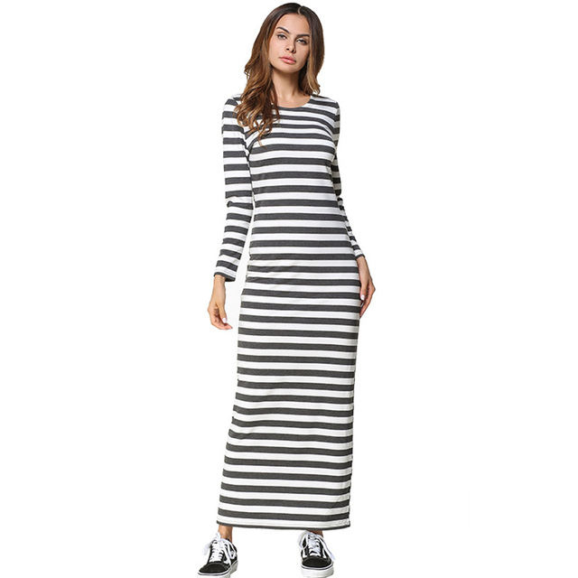 2018 Spring Maxi Dress Women Long Sleeve O Neck Casual Dress Plus