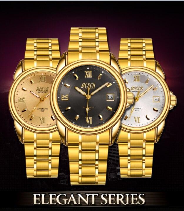 BOSCK marca hombres de lujo reloj de acero inoxidable reloj de cuarzo hombres reloj de pulsera calendario impermeable reloj Masculino
