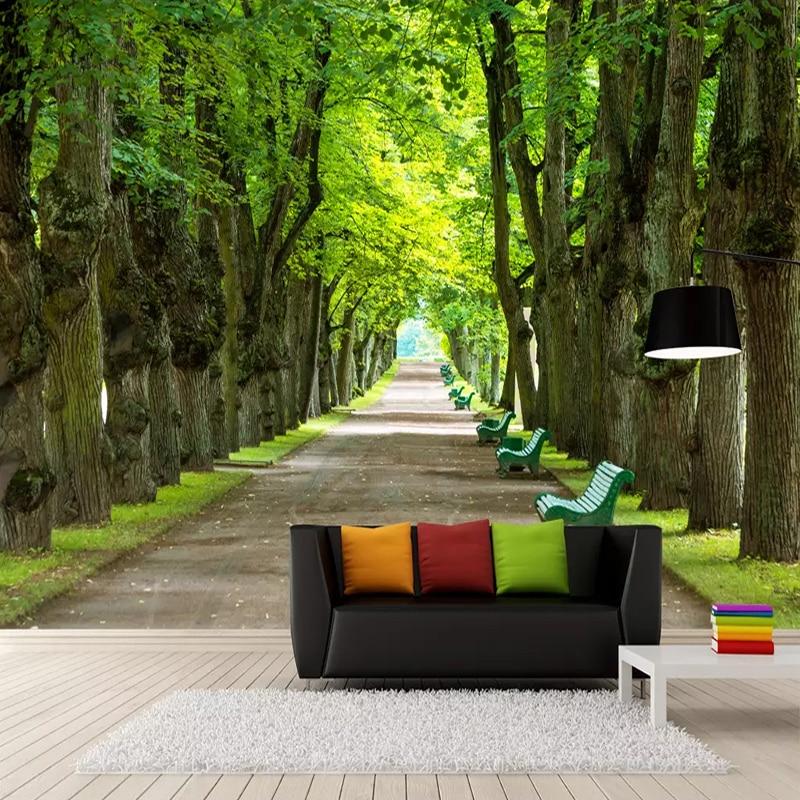 Custom Any Size Mural Wall Painting Green Big Tree Boulevard 3D Photo Wallpaper Living Room Bedroom Decoration Papel Tapiz Mural