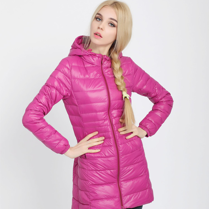 2018 New Style Lightweight Female Long Down Jacket Large Size Stand Collar Hooded Coat Various Colors Women Winter Clothing
