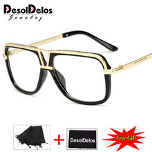 DesolDelos 2019 Popular Oversize Women Square glasses Brand Designer Fashion Men Transparent Frame Clear Lens Glasses