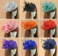 16 cores elegantes Senhoras roya, fascinators sinamay fascinator, pena chapéu de linho mulheres, casamento/partido acessório do cabelo, chapéu de penas