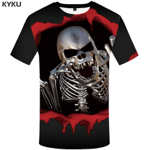 KYKU Skull T shirt Women Gothic 3d T-shirt Metal Shirts Punk Tshirt Hip Hop Tops Plus Size Womens hop