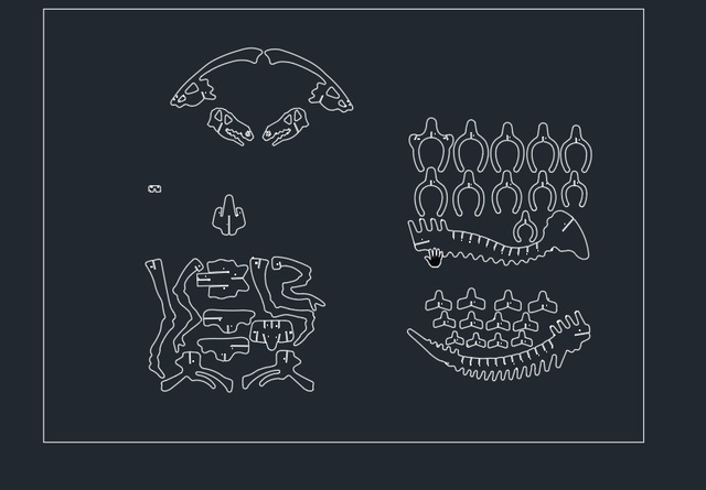 spesso Parasaurolophus Dinosaur drago DWG CAD file di disegno per cnc di  IZ86