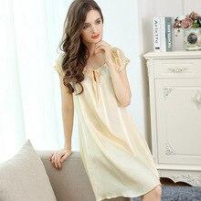 FLSK Brand Sexy Silk Nightgowns Female Summer 100% Silk Sleeping Dress Sweet Lace Elegant Short-Sleeved Lady Sleepwear S2504