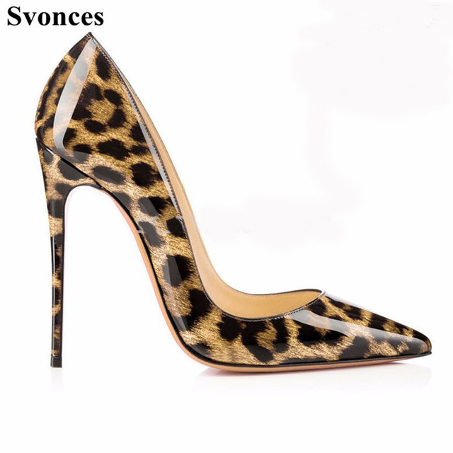 411edb23e52 Svonces Top Quality Leopard Patent Leather Women Pumps Pointed Toe Thin High  Heels 2018 New Fashion Luxury Women Shoes Big Size