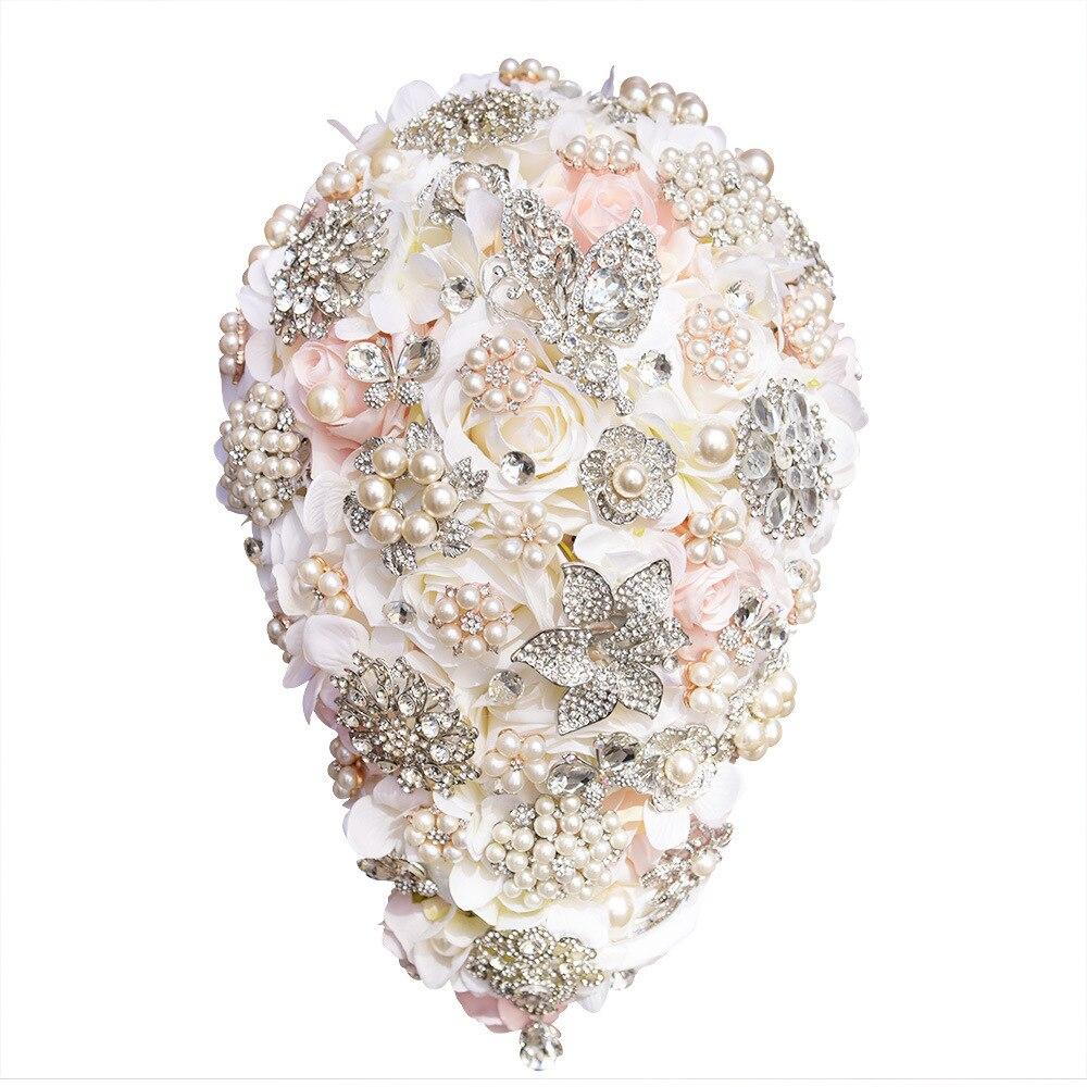 Wedding Bouquet Crystal Flowers: AYiCuthia Luxury Waterfall Crystal Wedding Bouquets Bling