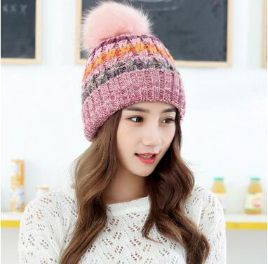Korean version of the large wool ball mixed color knitting outdoor thick wool cap warm autumn winter lady hat factory direct