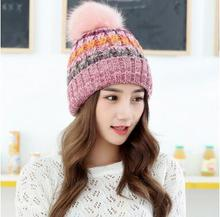 купить Korean version of the large wool ball mixed color knitting outdoor thick wool cap warm autumn winter lady hat factory direct дешево