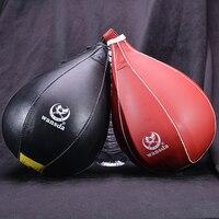 Leather Speed Bag MMA Muay Thai Training Punching Dodge Striking Bag Kit Hanging Swivel Workout Speedball