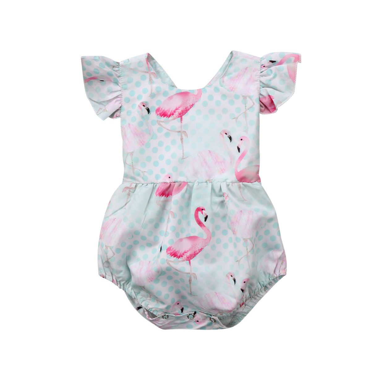 71bb921c6 Newborn Infant Baby Girl Ruffles Romper Flamingo Jumpsuit Sunsuit Summer  Clothes Outfits Baby Clothing